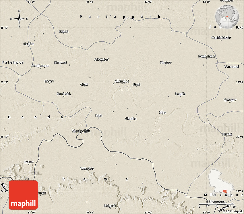 Shaded Relief Map Of Allahabad - Allahabad map