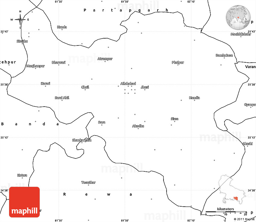 Blank Simple Map Of Allahabad - Allahabad map