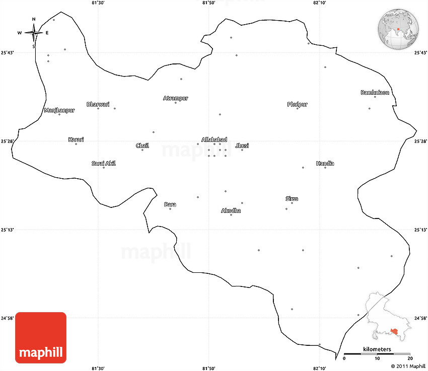 Blank Simple Map of Allahabad cropped outside