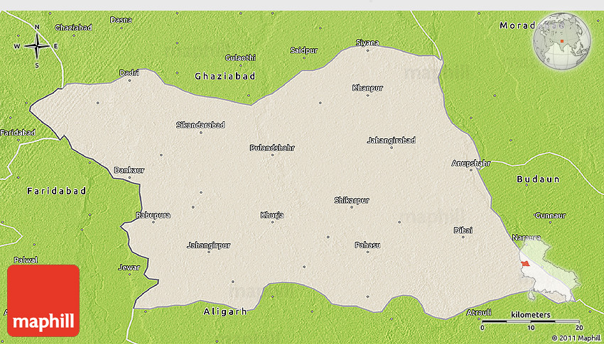 Shaded Relief D Map Of Bulandshahr Physical Outside - Bulandshahr map