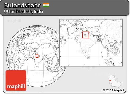 Free Blank Location Map Of Bulandshahr Within The Entire Country - Bulandshahr map