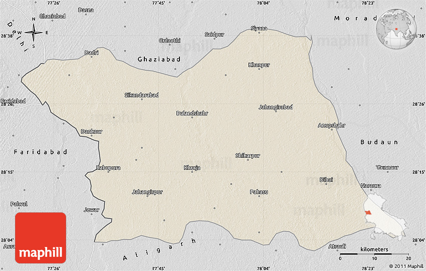 Shaded Relief Map Of Bulandshahr Desaturated - Bulandshahr map