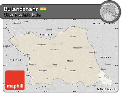Free Shaded Relief Map Of Bulandshahr Desaturated - Bulandshahr map