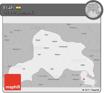 Free Gray 3D Map of Etah