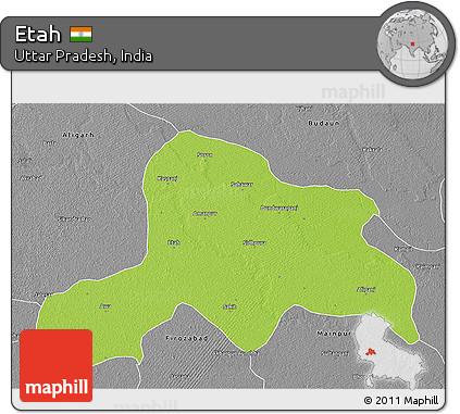 Free Physical 3D Map of Etah desaturated