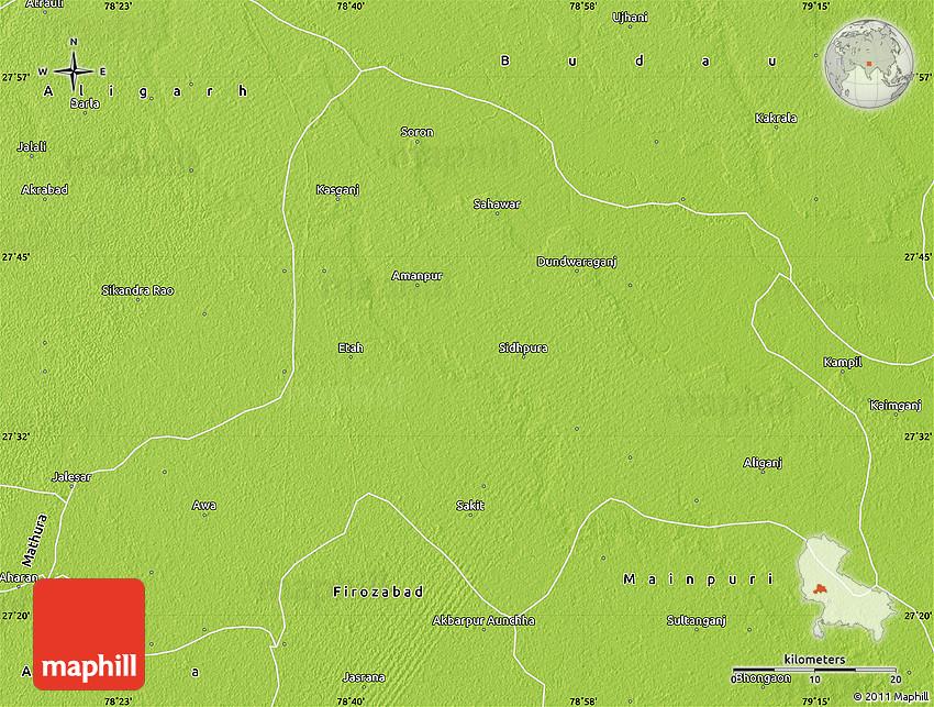 Physical Map of Etah