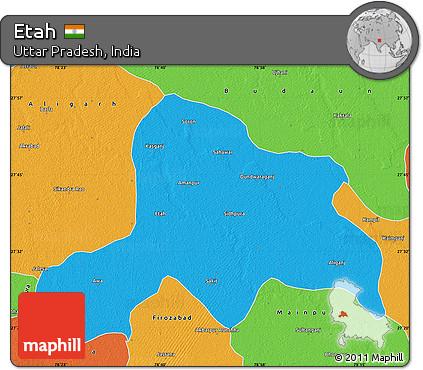 Free Political Map of Etah