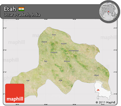 Free Satellite Map of Etah cropped outside
