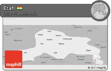 Free Gray Panoramic Map of Etah