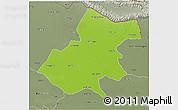 Physical 3D Map of Gonda, semi-desaturated