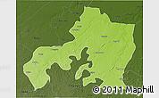 Physical 3D Map of Jhansi, darken