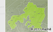 Physical 3D Map of Jhansi, semi-desaturated