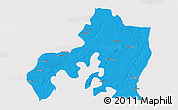 Political 3D Map of Jhansi, single color outside