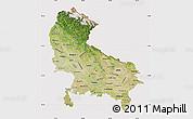 Satellite Map of Uttar Pradesh, cropped outside