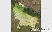 Satellite Map of Uttar Pradesh, darken
