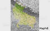 Satellite Map of Uttar Pradesh, desaturated