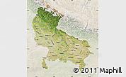 Satellite Map of Uttar Pradesh, lighten