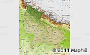 Satellite Map of Uttar Pradesh, physical outside