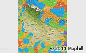 Satellite Map of Uttar Pradesh, political outside