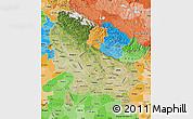 Satellite Map of Uttar Pradesh, political shades outside