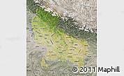 Satellite Map of Uttar Pradesh, semi-desaturated