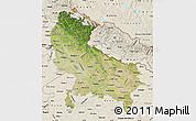 Satellite Map of Uttar Pradesh, shaded relief outside