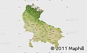 Satellite Map of Uttar Pradesh, single color outside
