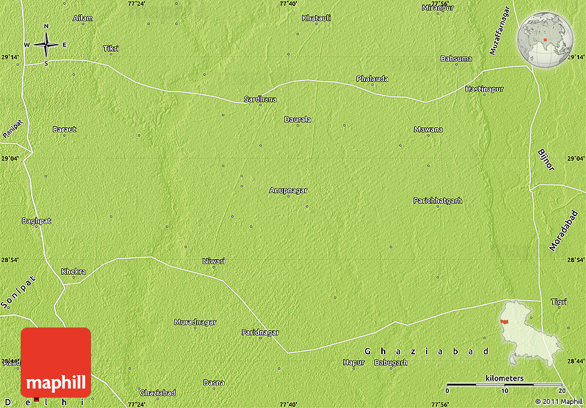 Meerut India Map.Physical Map Of Meerut