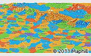 Political Panoramic Map of Uttar Pradesh
