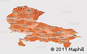 Political Shades Panoramic Map of Uttar Pradesh, cropped outside