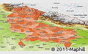 Political Shades Panoramic Map of Uttar Pradesh, physical outside