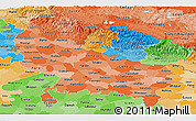 Political Shades Panoramic Map of Uttar Pradesh