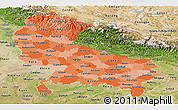 Political Shades Panoramic Map of Uttar Pradesh, satellite outside