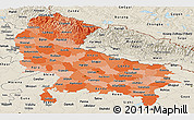Political Shades Panoramic Map of Uttar Pradesh, shaded relief outside