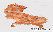 Political Shades Panoramic Map of Uttar Pradesh, single color outside