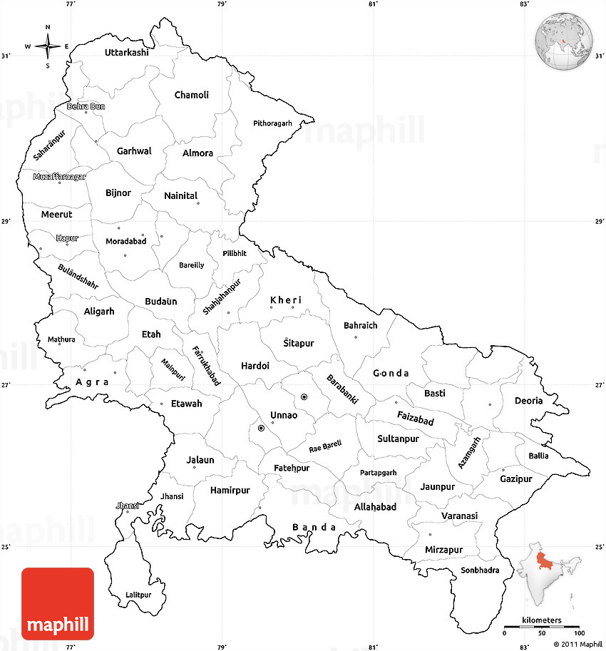 Map Up.Blank Simple Map Of Uttar Pradesh Cropped Outside