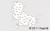 Classic Style Simple Map of Uttar Pradesh, cropped outside