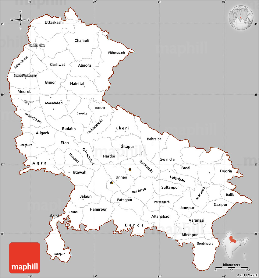 Map Up.Gray Simple Map Of Uttar Pradesh Cropped Outside