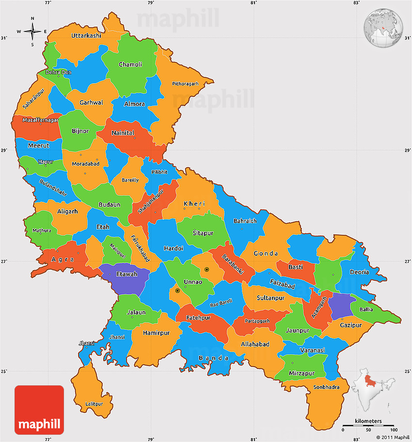 Map Up.Political Simple Map Of Uttar Pradesh Cropped Outside