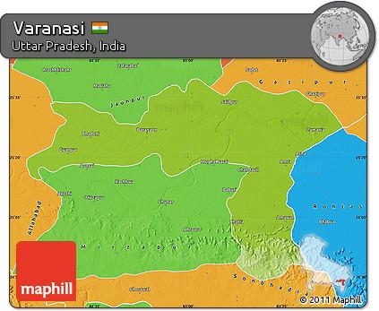 Free Physical Map Of Varanasi Political Outside - Varanasi map