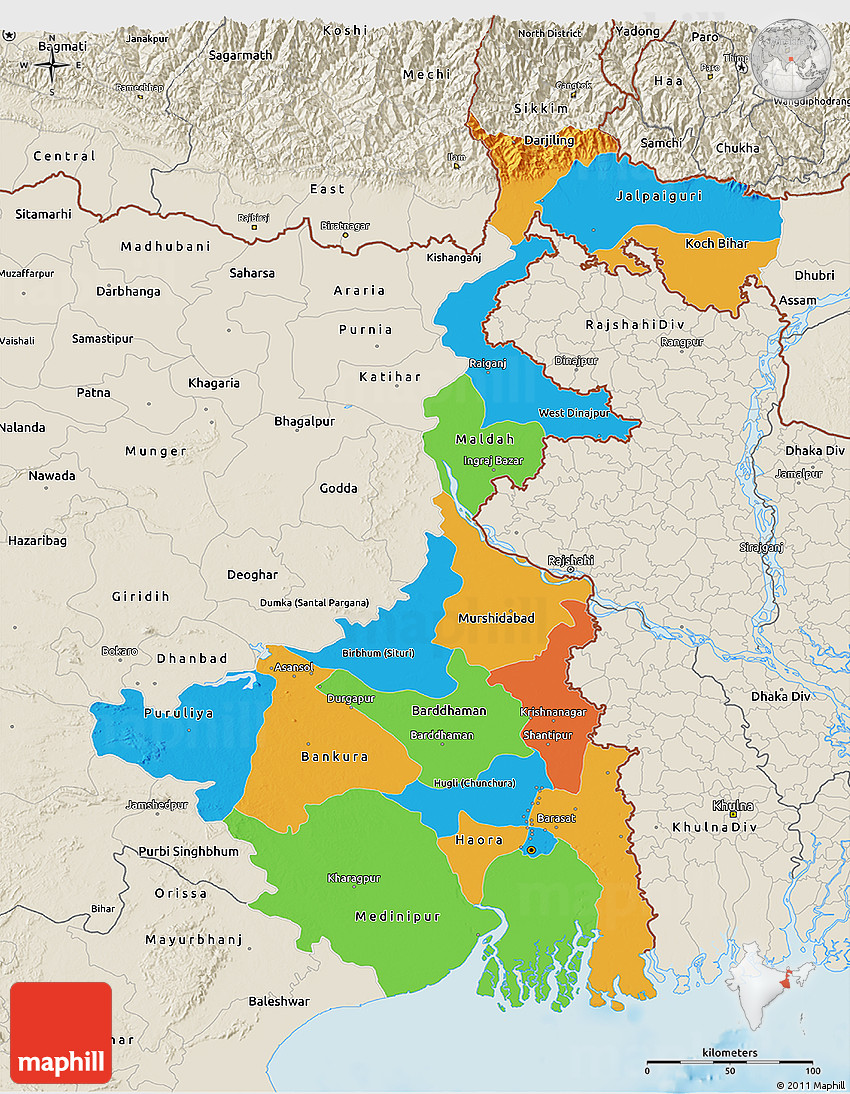 Political 3d map of west bengal shaded relief outside 2d 82 3d 82 gumiabroncs Images