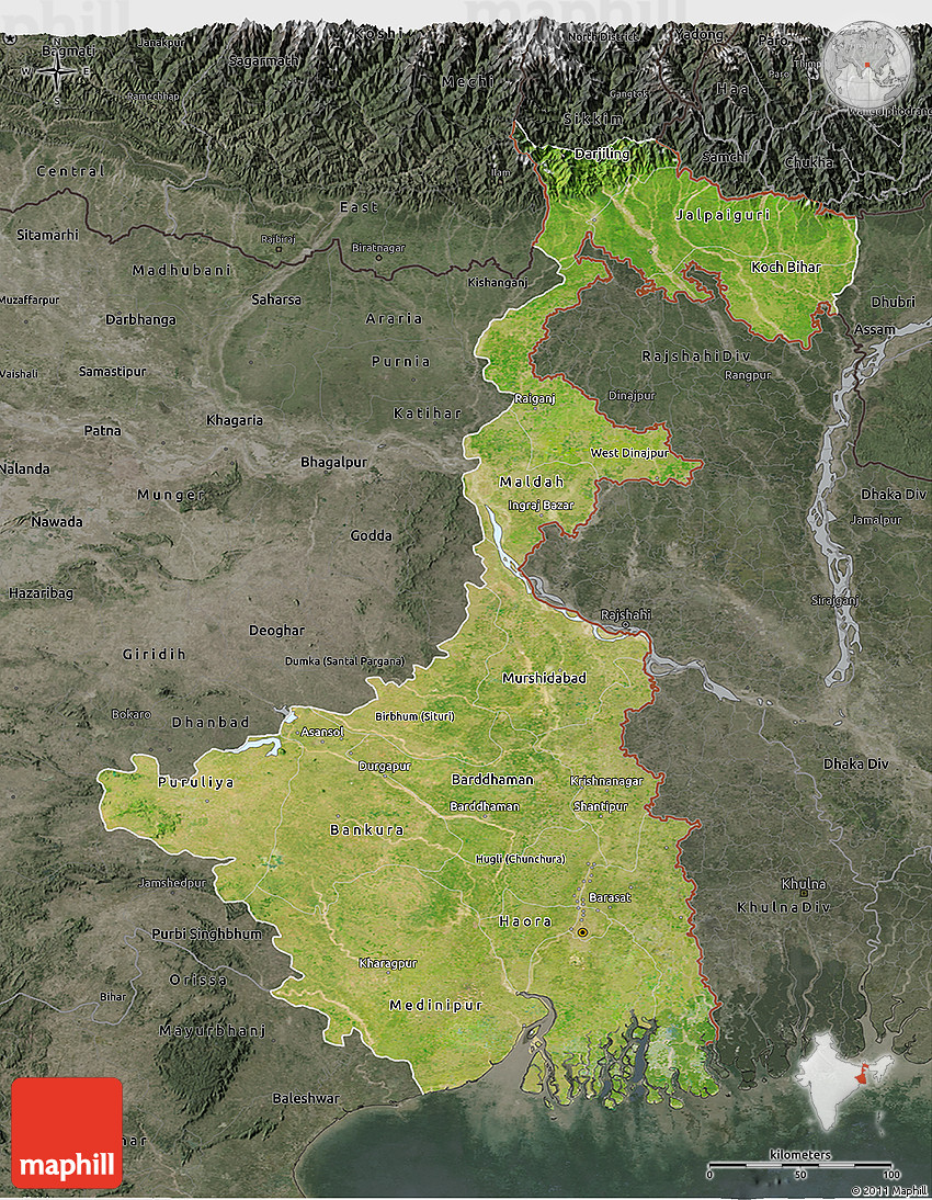 Satellite 3D Map of West Bengal, darken, semi-desaturated on map of west pakistan, map of bally, map of union territories, map of drenthe, map of silvassa, map of rajgangpur, map of west brighton, map of west boston, map of digha, map of northwestern tennessee, map of meghalaya, map of mundra, map of bangladesh, map of konark, map of gir forest national park, map of dadra and nagar haveli, map of mirzapur, map of west kenya, map of west syria, map of india,