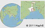 Savanna Style Location Map of Calcutta, highlighted parent region
