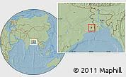 Savanna Style Location Map of Calcutta, hill shading