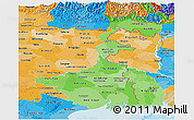 Political Shades Panoramic Map of West Bengal
