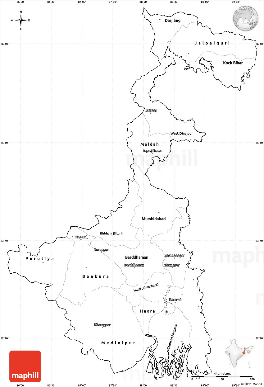 Blank Simple Map Of West Bengal Cropped Outside - Blank map of the west