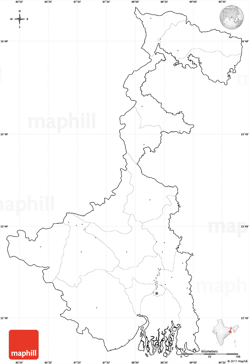 Blank Simple Map Of West Bengal Cropped Outside No Labels - Blank map of the west