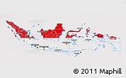 Flag 3D Map of Indonesia, flag centered