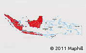 Flag 3D Map of Indonesia, flag aligned to the middle