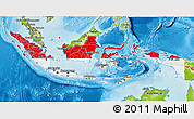 Flag 3D Map of Indonesia, physical outside